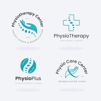 Pakket platte logo-sjablonen voor fysiotherapie