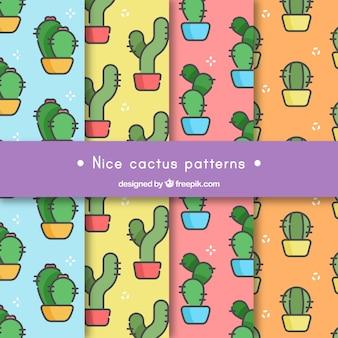 Pakket van cactuspatronen in lineaire stijl