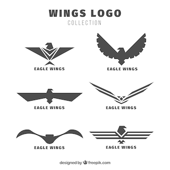 Pakket van eagles vleugels logo's