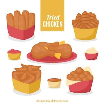 Pakket van gebakken kip
