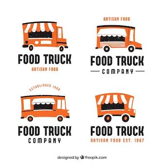 Pakket van logo's van voedselvrachtwagens met vlak ontwerp