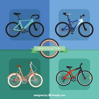 Pakket van vier fietsen in vlakke vormgeving