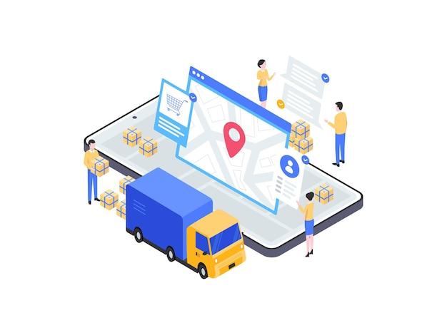 Pakket verzonden isometrische illustratie. geschikt voor mobiele app, website, banner, diagrammen, infographics en andere grafische middelen.