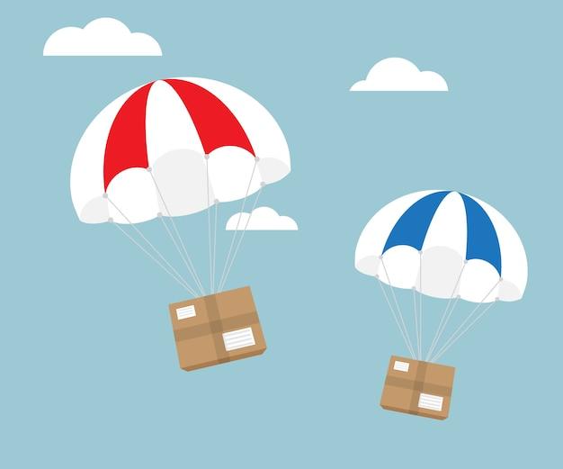 Pakket vliegen met parachute