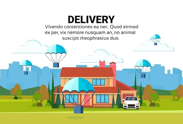 Pakket vliegende parachutes levering service concept huis werf exterieur stadsgezicht