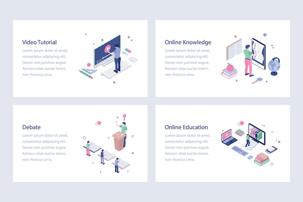 Pakket voor online onderwijs vectorillustraties