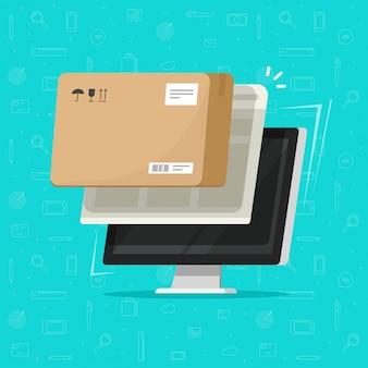 Pakketbezorging online volgen of pakketdoos ontvangen op computerillustratie