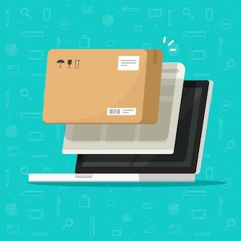 Pakketbezorging online volgen of pakketdoos ontvangen op laptop computerillustratie