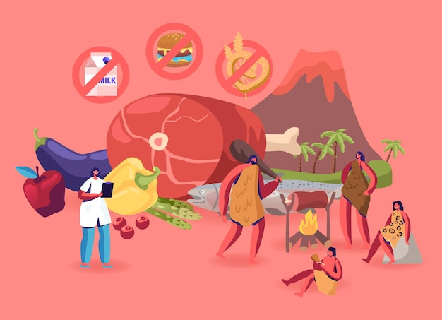 Paleo dieet gezond eten concept. cartoon vlakke afbeelding