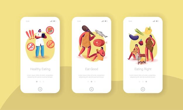 Paleodieet gezond eten mobiele app-pagina onboard-schermsjabloon.