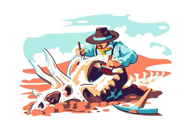 Paleontoloog wetenschapper werkt aan opgravingen