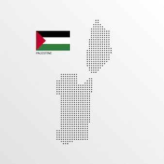 Palestina-kaartontwerp met vlag en lichte vector als achtergrond
