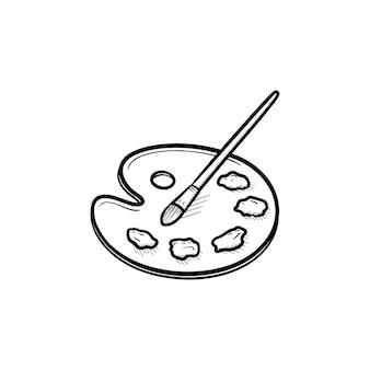 Palet met kwast hand getrokken schets doodle pictogram. vector schets illustratie van palet met aquarellen en penseel voor print, web, mobiel en infographics geïsoleerd op een witte achtergrond.