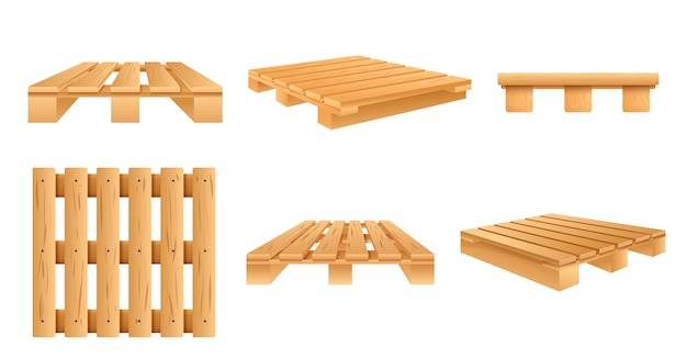 Pallet icon set, cartoon stijl