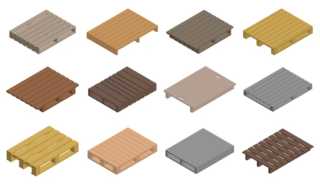 Pallet iconen set, isometrische stijl