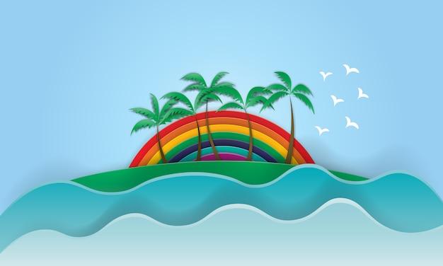 Palm beach met regenboogachtergrond in document kunststijl