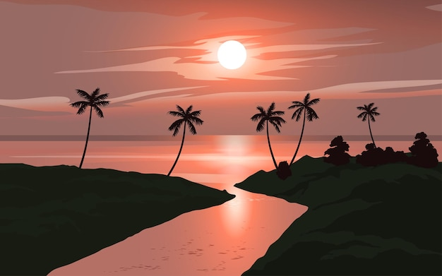Palm beach zonsondergang illustratie