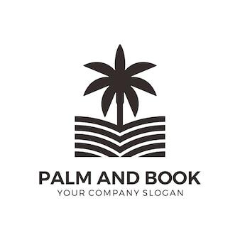 Palm- en boeklogo-ontwerp