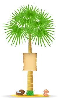 Palm met een papieren teken vector illustratie