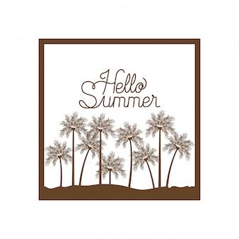 Palm met kokosnotensilhouet. hallo zomer