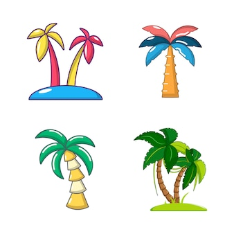 Palm pictogrammenset. eenvoudige reeks palmboom vectorpictogrammen geplaatst geïsoleerd