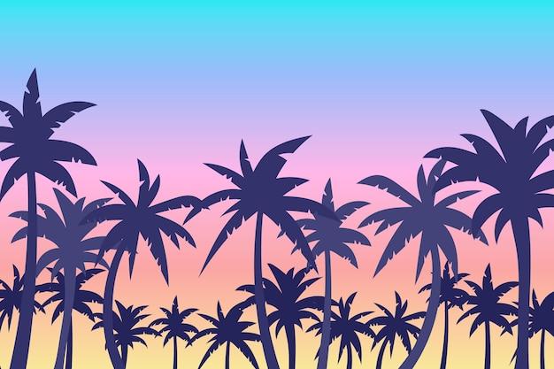 Palm silhouetten achtergrondontwerp