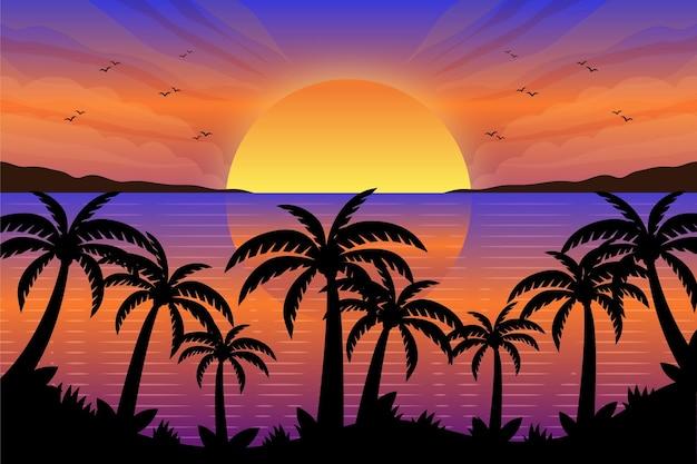 Palm silhouetten behang