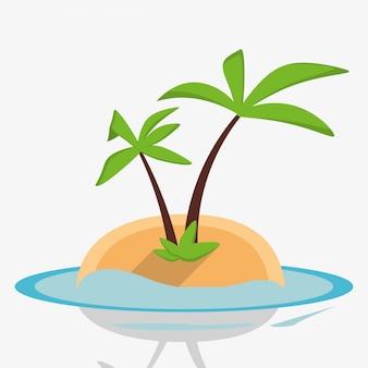 Palm zee van het eiland van de woestijn
