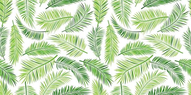 Palmblad naadloos patroon, groen tropisch.