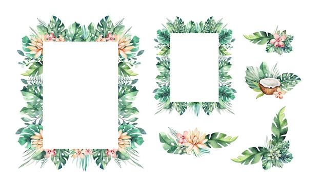 Palmbladeren en bloemenframes. tropische wenskaart.