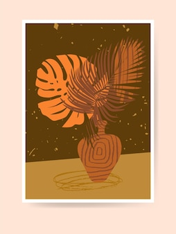 Palmbladeren in een keramische vaas. boho woondecoratie. moderne abstracte stillevendruk. hedendaagse minimalistische kunst. kwekerij decoratie, kunst aan de muur. neutrale terracotta kleuren, aardetinten. vector