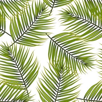 Palmbladeren vector patroon achtergrond