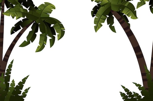 Palmbomen met tropische planten sjabloon platte vectorillustratie op witte achtergrond