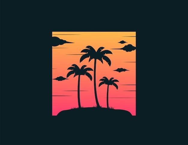 Palmbomen silhouet met zonsondergang achter met vintage stijl pictogram ontwerpsjabloon