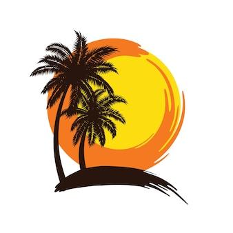 Palmbomen zonsondergang