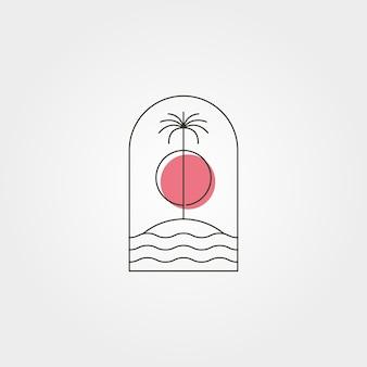 Palmboom eiland lijn logo vector symbool met zonsondergang illustratie ontwerp, minimaal embleem ontwerp