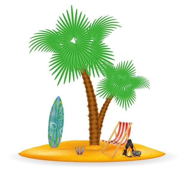 Palmboom en accessoires voor rust geïsoleerd op een witte achtergrond
