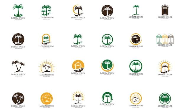 Palmboom en kokospalm logo vetor