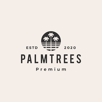 Palmboom hipster vintage logo pictogram illustratie