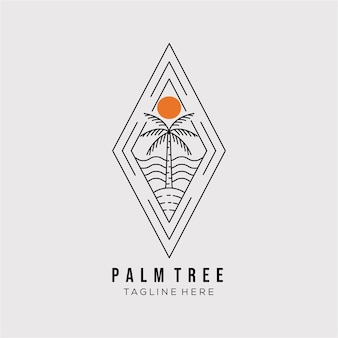 Palmboom lijn kunst logo vector illustratie ontwerp. minimalistisch overzichtssymbool van de kokospalm. palmboom badge icoon