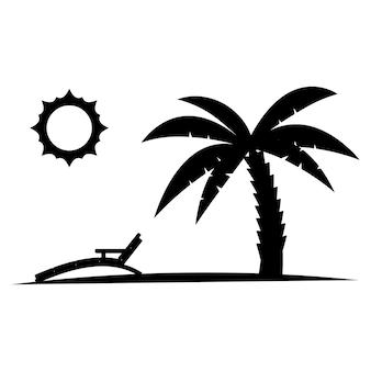 Palmboom met zon in zwarte kleur glyph-pictogram ontspant palmboom op het strand met zonnebank