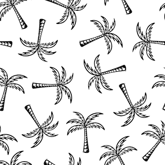 Palmboom naadloze patronen. doodlesontwerp op witte achtergrond.
