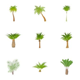 Palmboom set, cartoon stijl