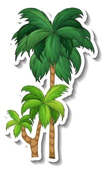 Palmboom sticker op witte achtergrond