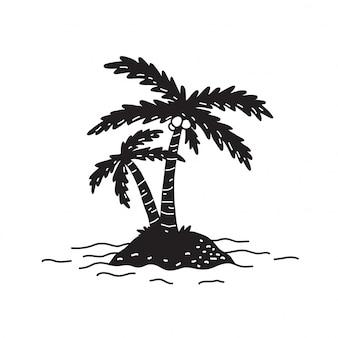 Palmboom vector eiland kokosnoot oceaan