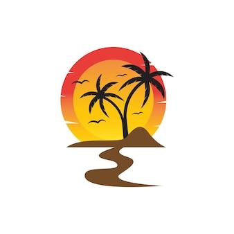 Palmboom zomer logo sjabloon vectorillustratie