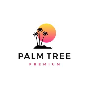 Palmboom zonsondergang logo pictogram illustratie