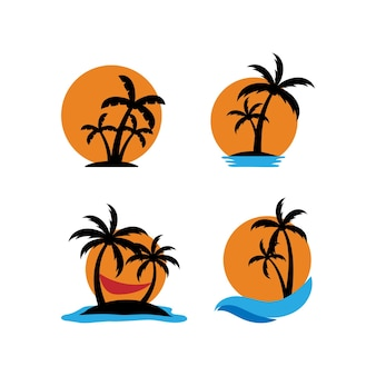 Palmboom zonsondergang pictogrammenset ontwerpsjabloon