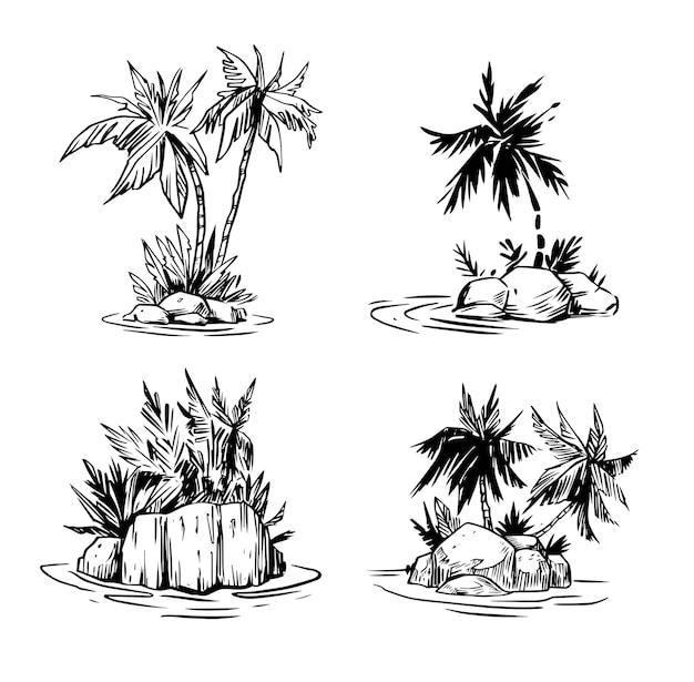 Palmboomeiland op de illustratie van de zee