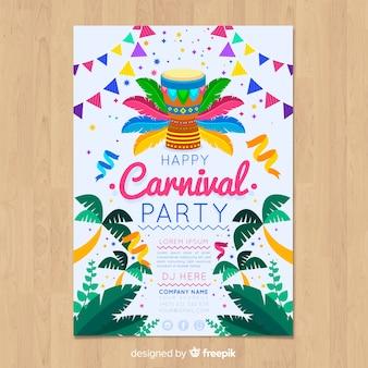 Palmen braziliaanse carnaval partij poster